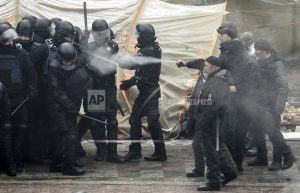 Protesters clash with police in Ukraine over new law