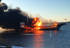 Casino shuttle boat engulfed by flames, dozens safely escape