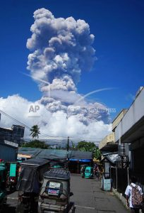 Philippine volcano spews lava fountains, 40,000 people flee