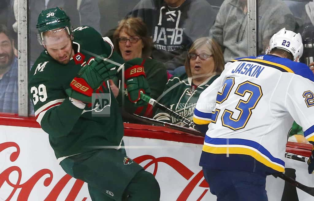 Staal's hat trick leads surging Wild past slumping Blues 8-3