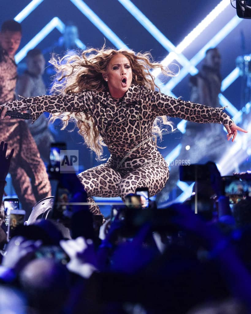 J. Lo shout-outs A-Rod, covers Prince at pre-Super Bowl show