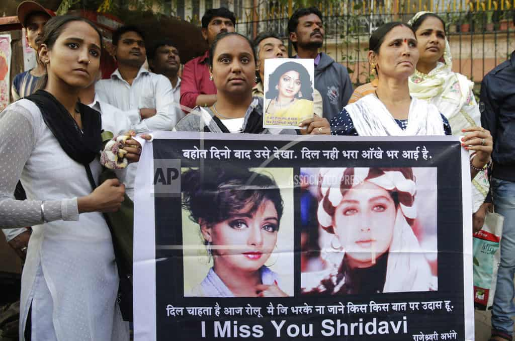 Sridevi mourned by Bollywood fans outside Mumbai home
