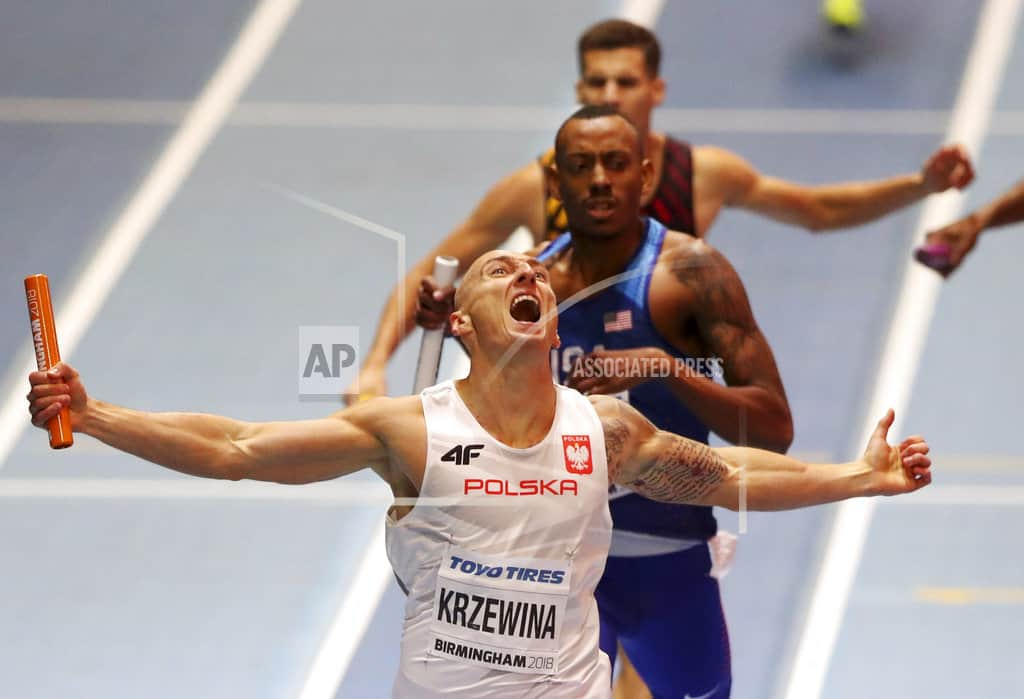 Poland sets world indoor record in 4×400-meter relay, US 2nd