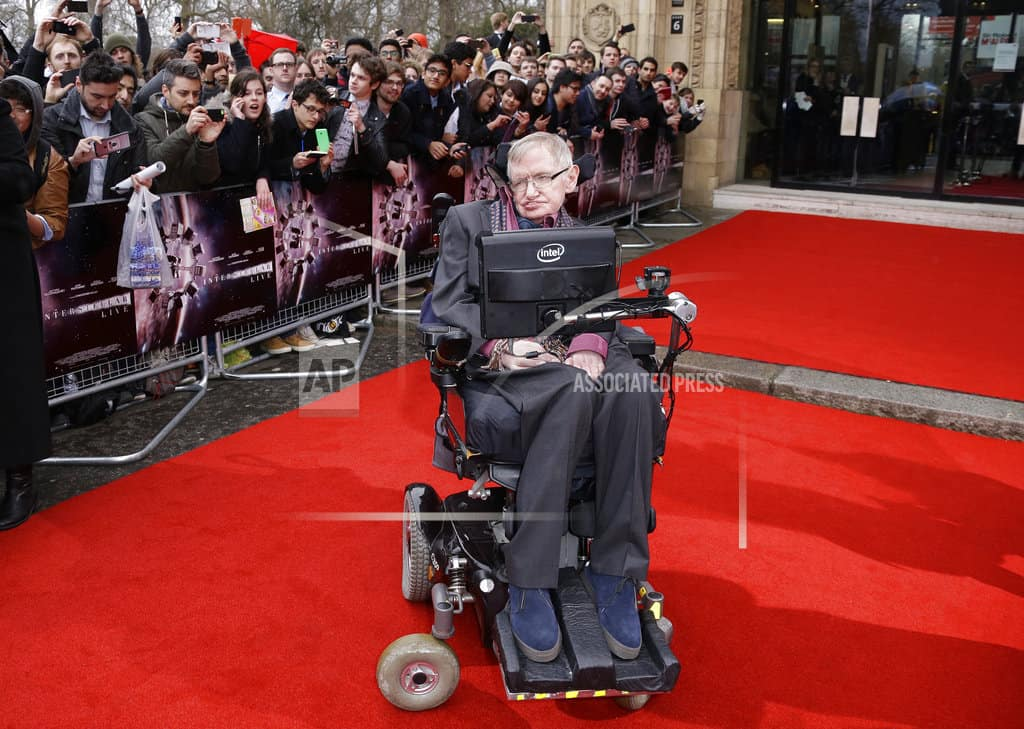 The Latest: Actor Eddie Redmayne pays tribute to Hawking