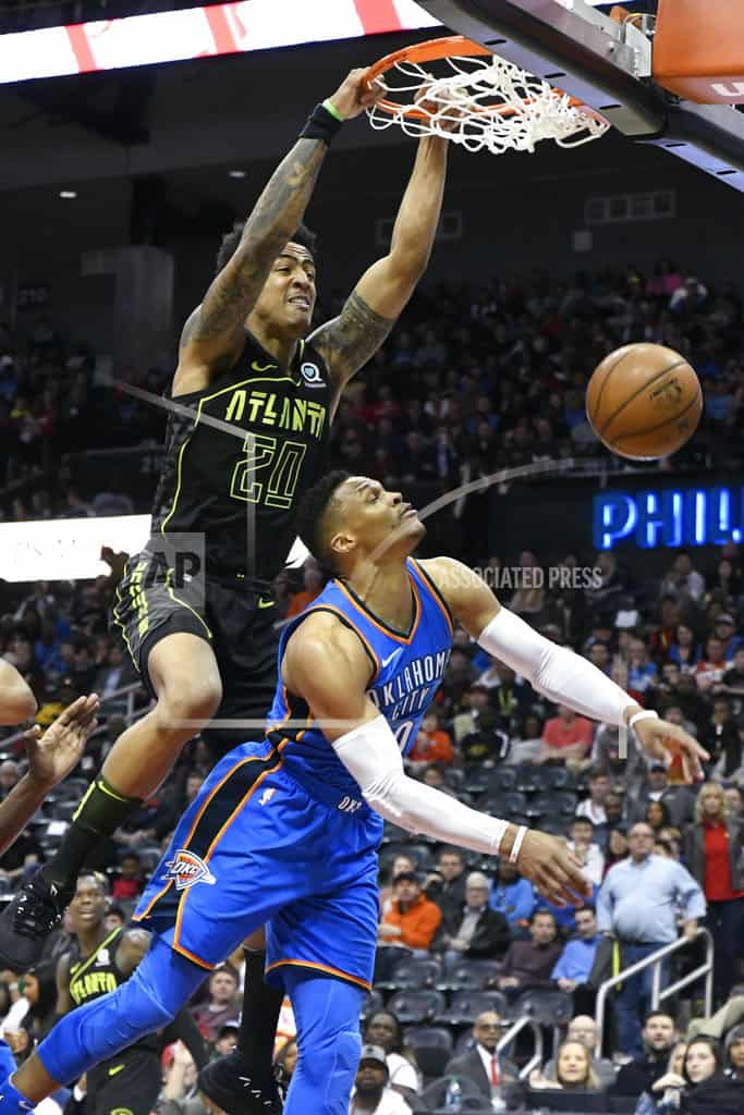 Westbrook's 100th triple-double, Thunder beats Hawks 119-107