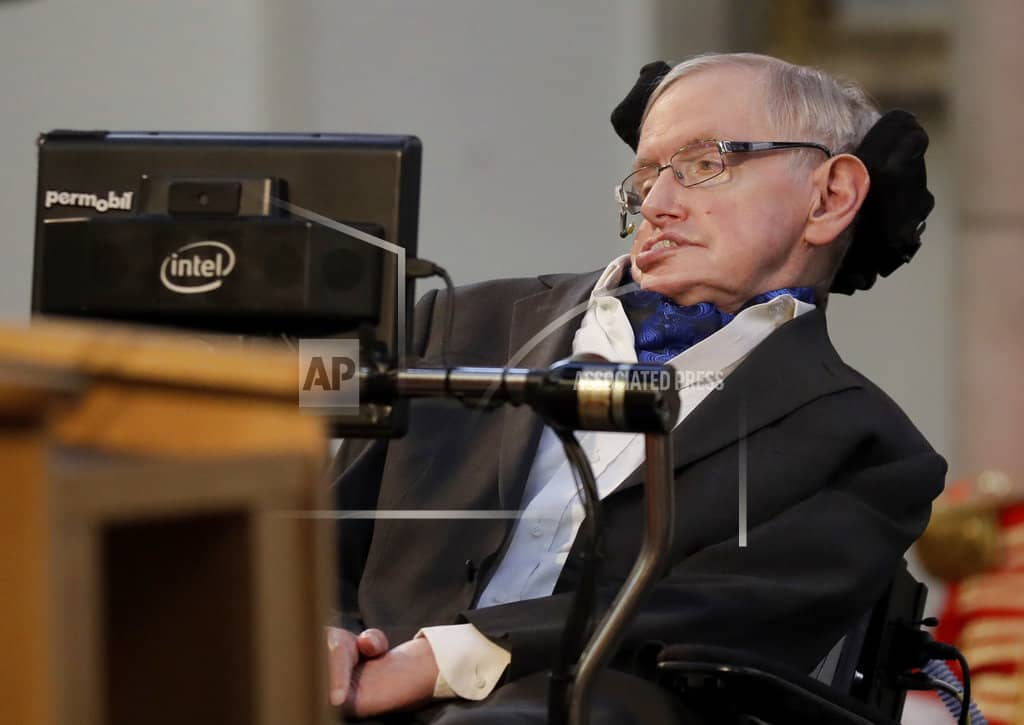 The Latest: Stephen Hawking praised as an inspiration
