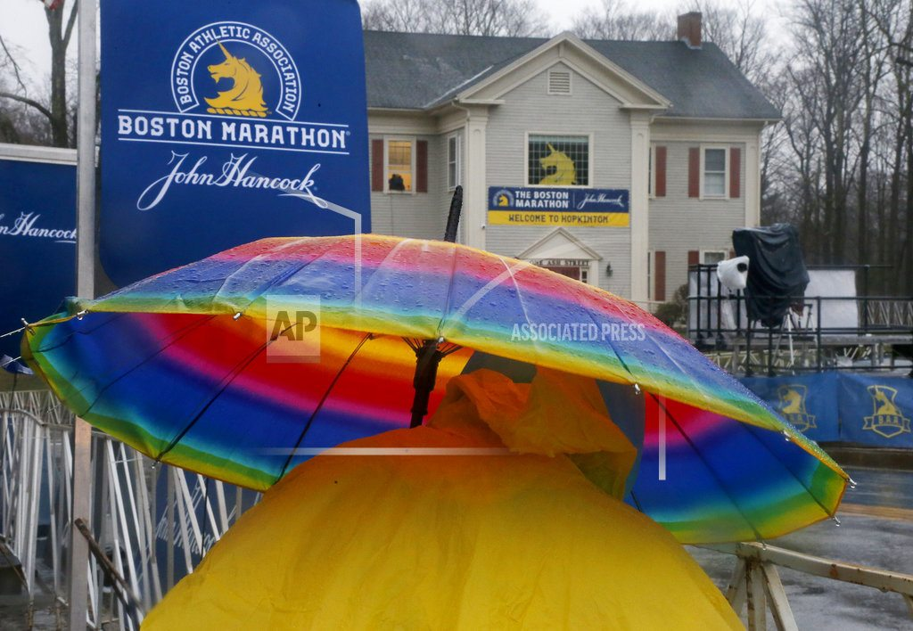 BOSTON | The Latest: 2018 Boston Marathon looks to be cold and wet