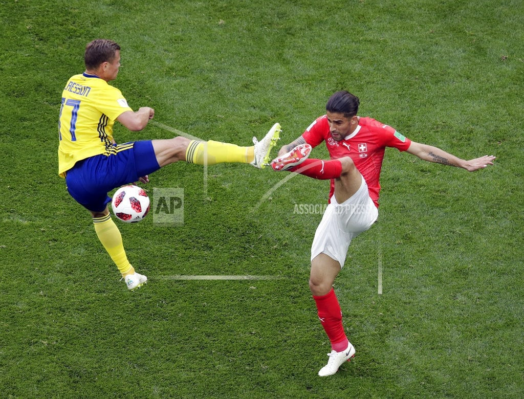 MOSCOW | The Latest: Swiss-Swedes tied 0-0 at halftime in Round of 16
