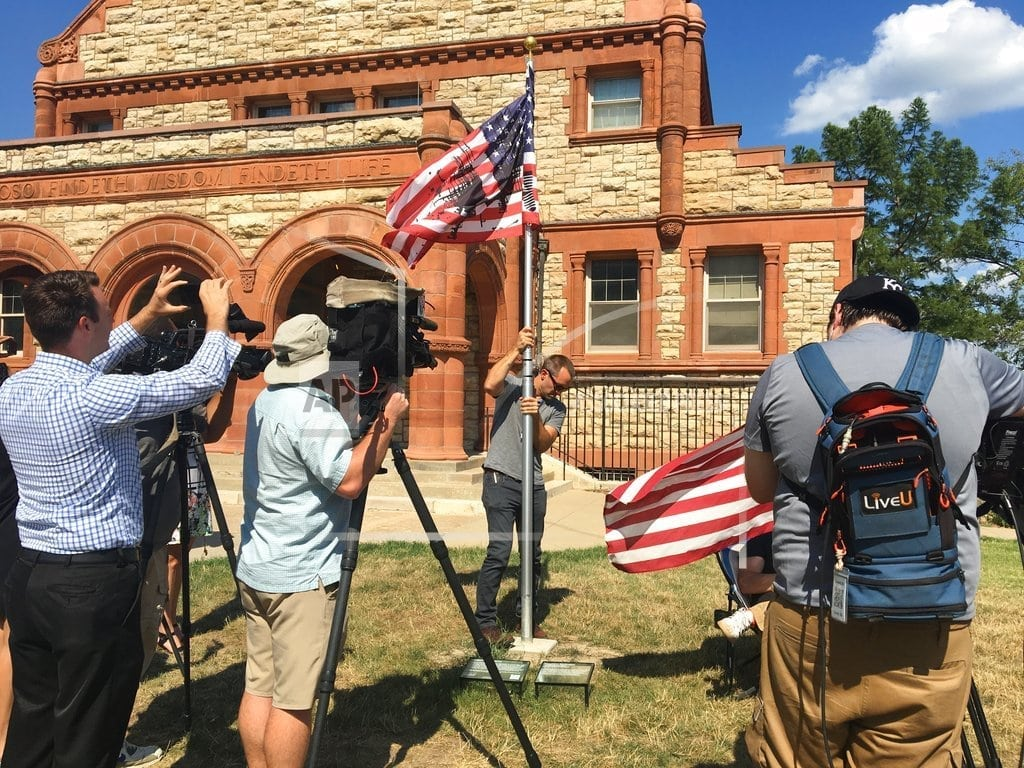 TOPEKA, Kansas  Kansas officials seek altered US flag's removal from museum
