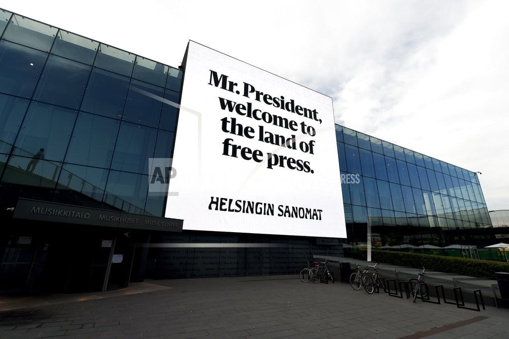 HELSINKI | The Latest: Putin rejects collecting dirt on Trump