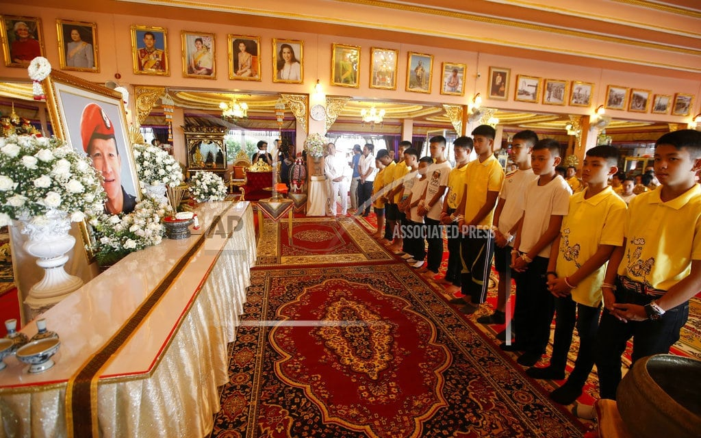 CHIANG RAI, Thailand | After rescue, Thai soccer boys pray for fortune at temple