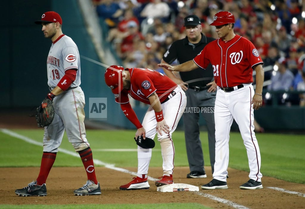 WASHINGTON   Bryce Harper pulled after being hit in knee by pitch