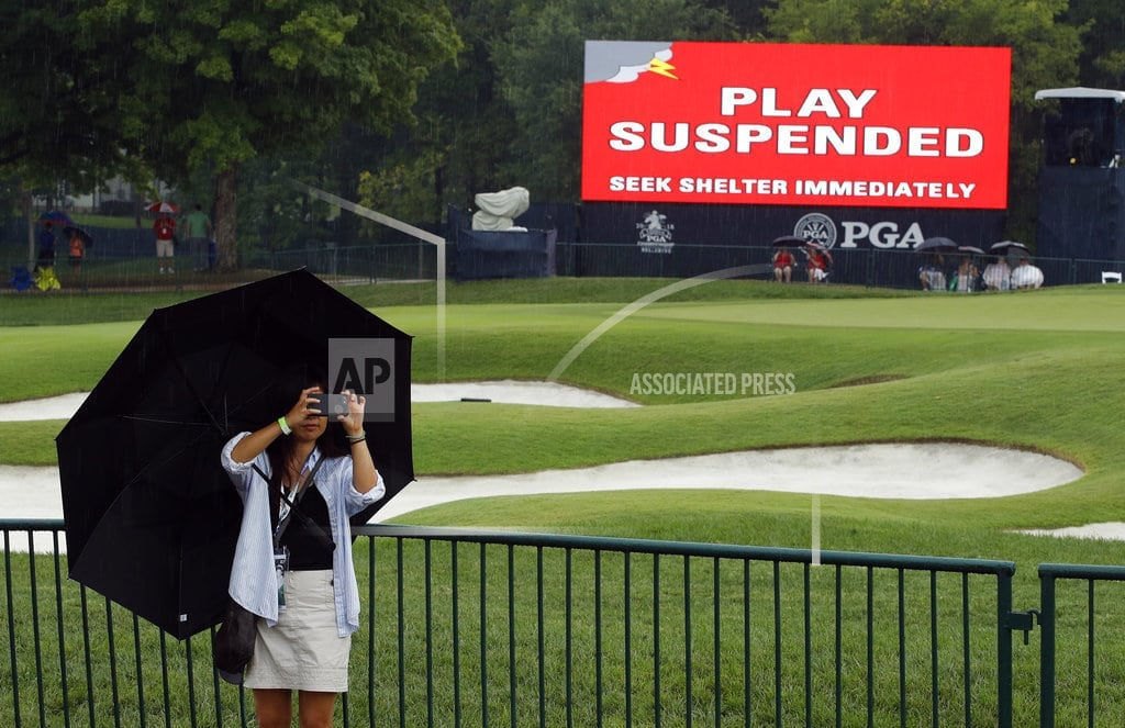 ST. LOUIS   PGA Championship resumes with second round at wet Bellerive
