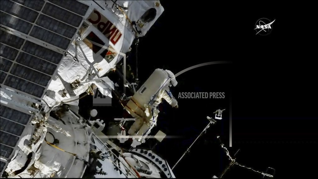 CAPE CANAVERAL, Fla | Spacewalkers flinging satellites, installing bird trackers