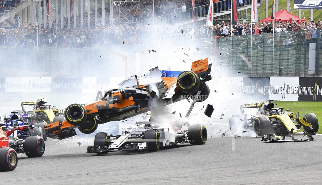 SPA-FRANCORCHAMPS, Belgium | Halo on car protects Leclerc after crash in Belgian GP