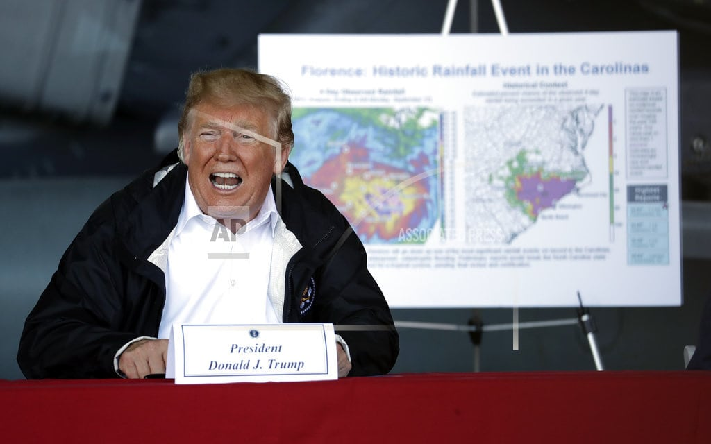 HAVELOCK, N.C   The Latest: Trump tours area that's expecting more flooding