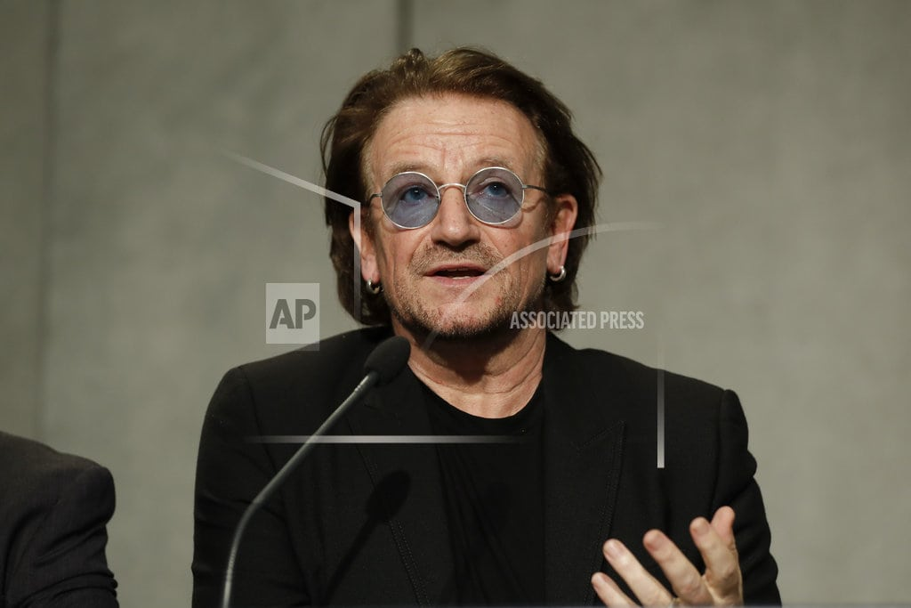 """VATICAN CITY   U2's Bono says pope's """"aghast"""" about church sex abuse"""