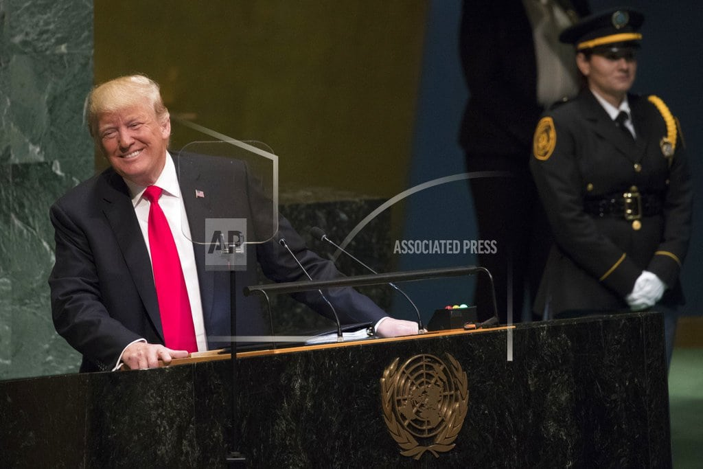 UNITED NATIONS   The Latest: Trump hails his own achievements in UN speech