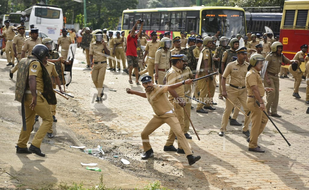 NEW DELHI | Protesters prevent females ages 10-50 from entering temple