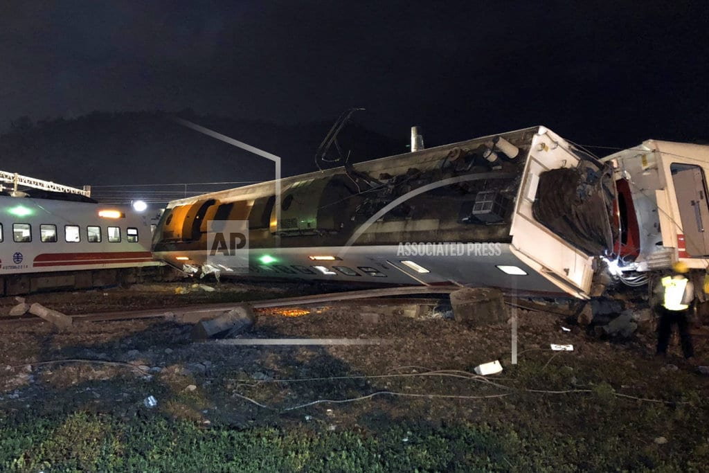 DONGSHAN TOWNSHIP, Taiwan | One of Taiwan's fastest trains derails, killing at least 18