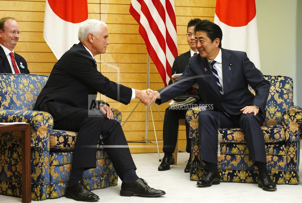 TOKYO | Pence, Abe discuss trade, NKorea ahead of regional summits