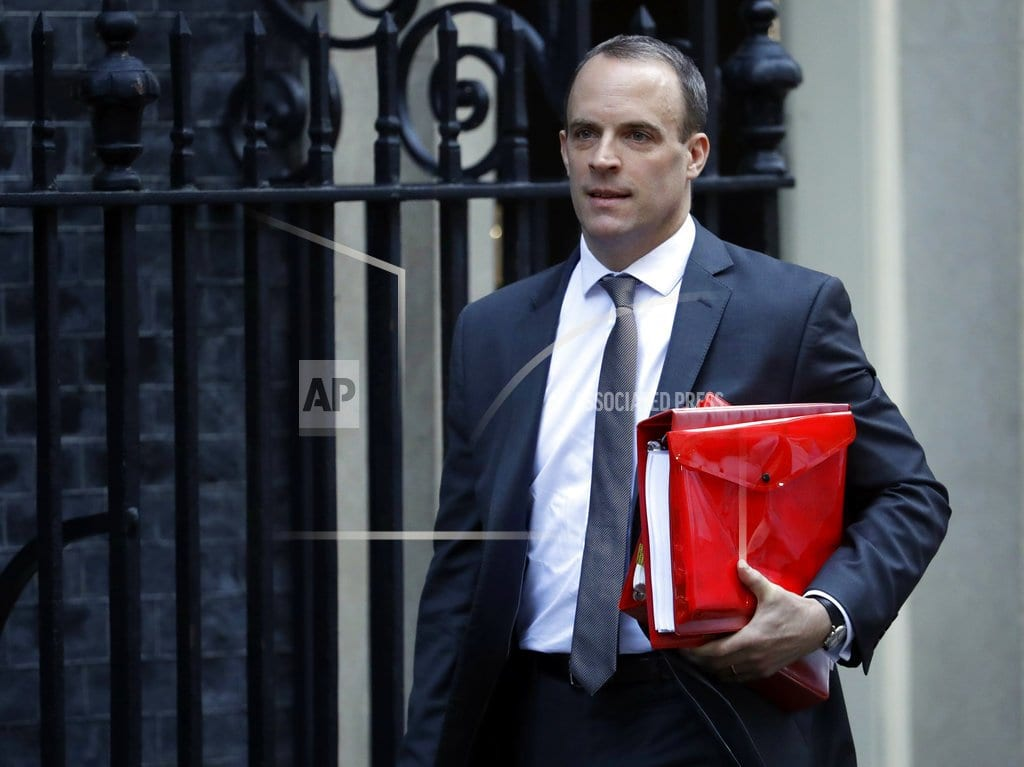 LONDON | The Latest: Pound slides after UK's Brexit minister quits