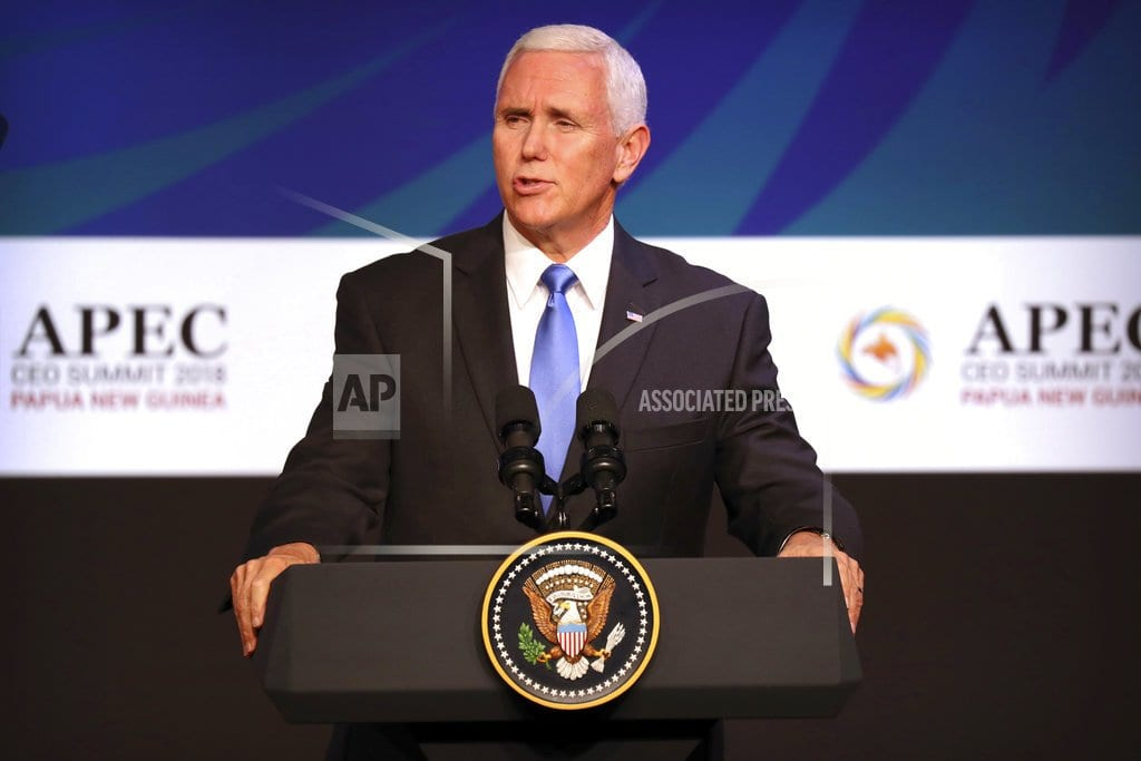PORT MORESBY, Papua New Guinea  | The Latest: Pence meets Taiwan's delegation at APEC summit