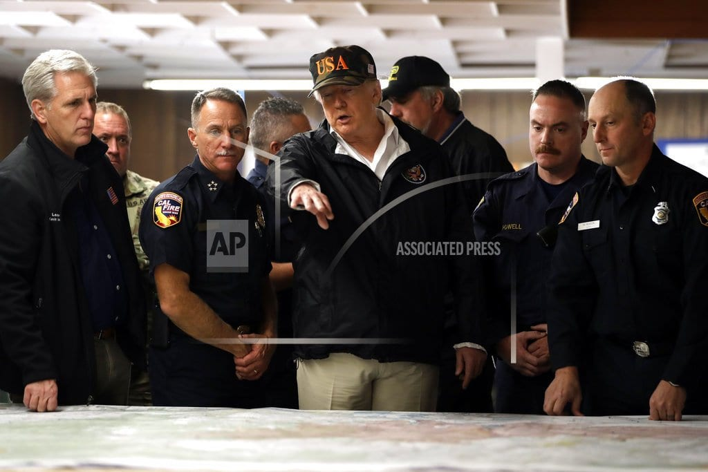 PARADISE, Calif.|Trump tours Paradise area, calls wildfire a 'really bad one'