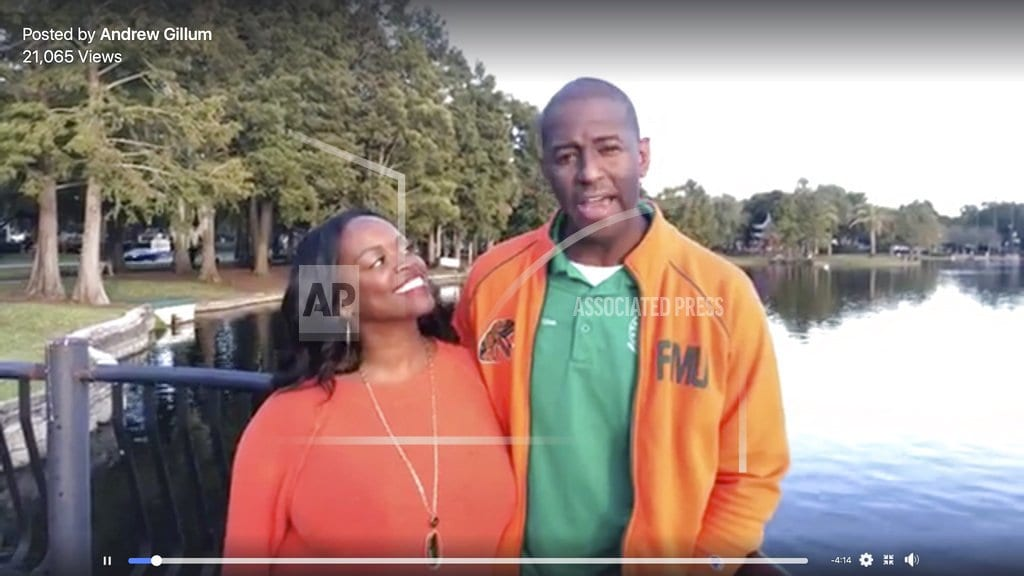 TALLAHASSEE, Fla. | The Latest: Gillum with wife: Race 'journey of our lives'