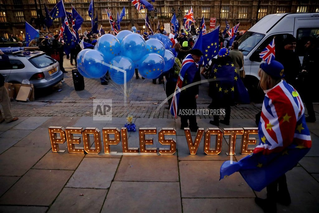 BRUSSELS  | The Latest: EU official: Bloc won't renegotiate Brexit deal