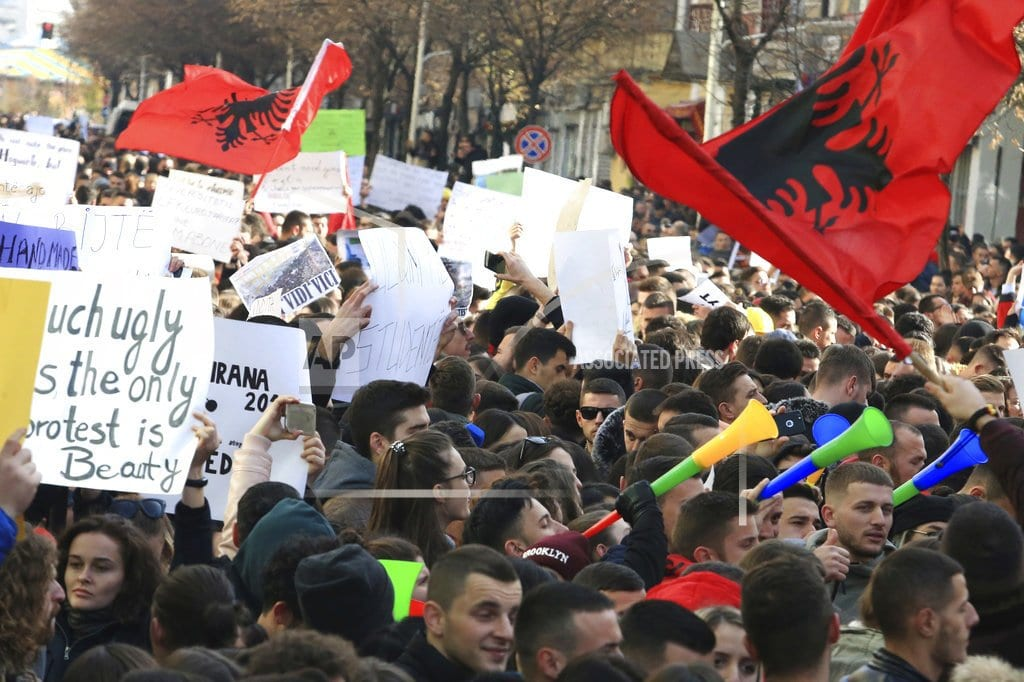 TIRANA, Albania | Thousands of Albanian students step up rally against fees