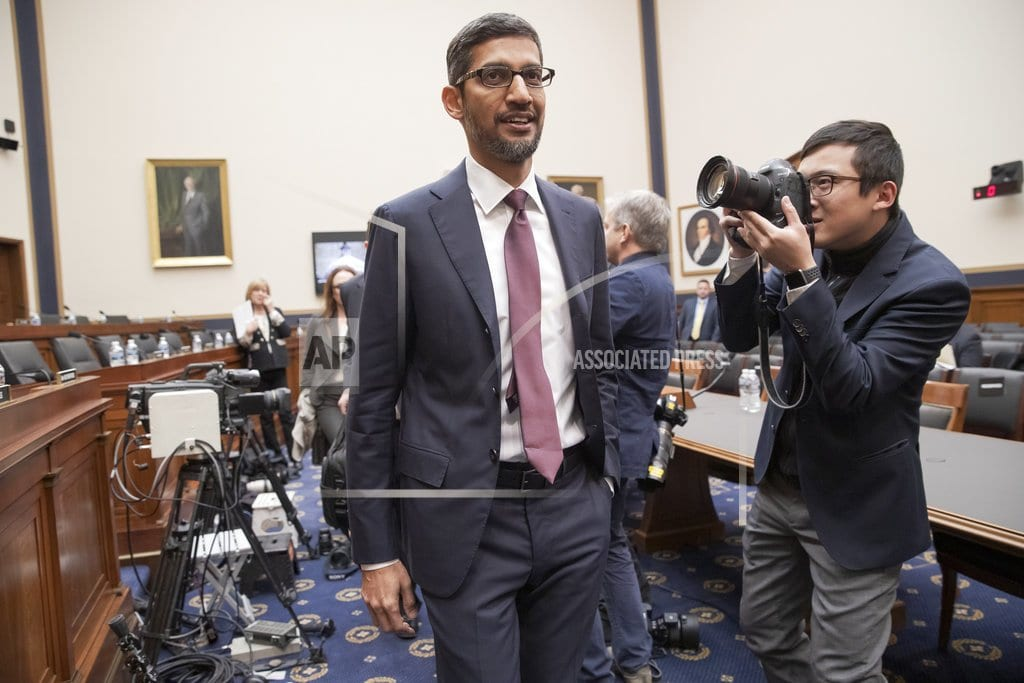 WASHINGTON | The Latest: GOP lawmakers grill Google CEO on perceived bias