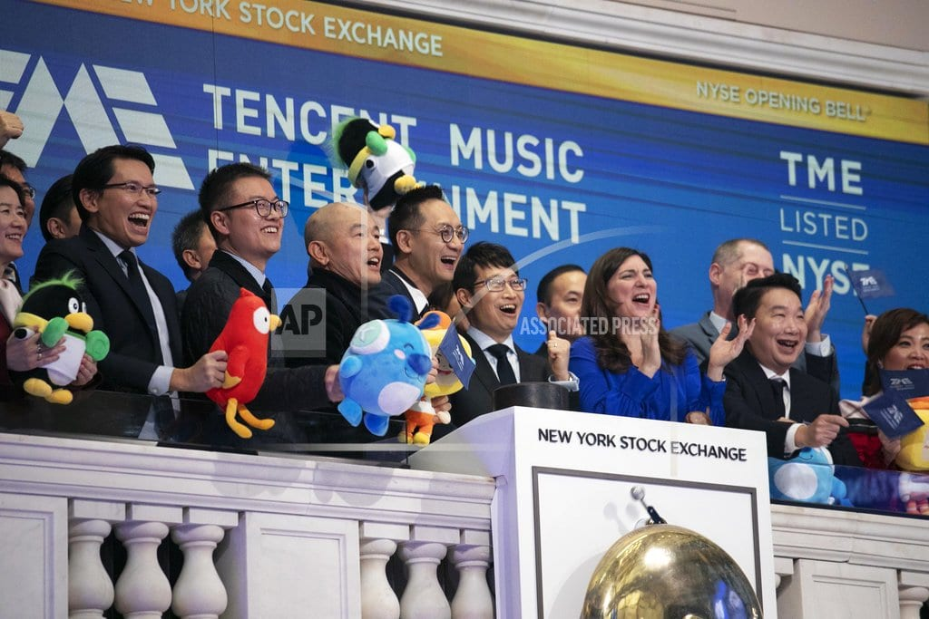 NEW YORK | Tencent Music shares rise on first trading day