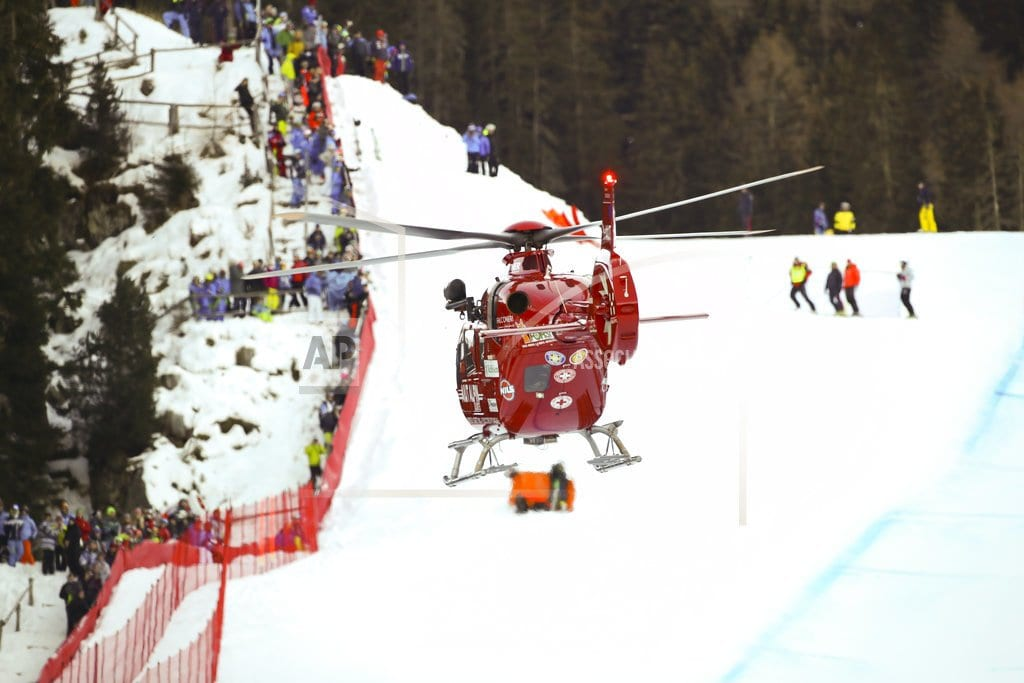 SELVA DI VAL GARDENA, Italy   Gisin flown to hospital after crashing in World Cup downhill