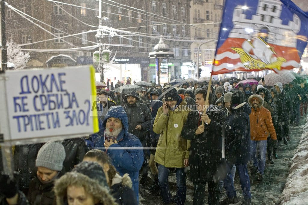 BELGRADE, Serbia | Thousands brave snow to rally against Serbian leader Vucic