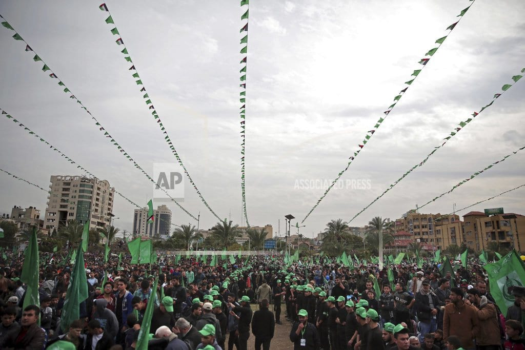 GAZA CITY, Gaza Strip | Tens of thousands rally in Gaza to mark Hamas anniversary