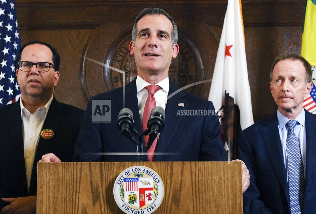 LOS ANGELES | With strike deal, Garcetti looks again toward 2020 run