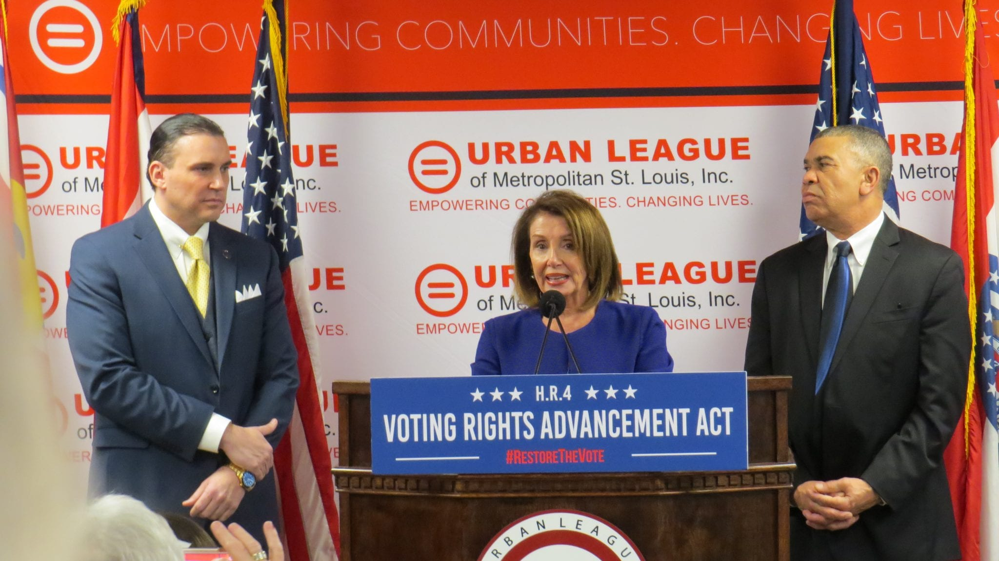 House Speaker, Nancy Pelosi, Visits Ferguson To Rally Support For Voter Bills