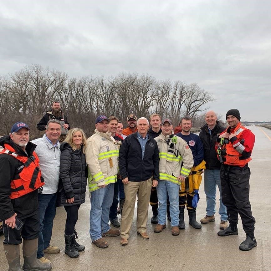 Nebraska Governor Ricketts Joins Vice President Pence to Assess Flood Damage, Thank First Responders