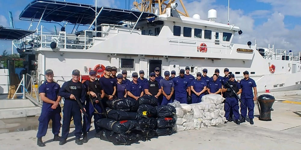 US Coast Guard offloads 970 pounds of cocaine and 550 pounds of marijuana at Base Miami Beach