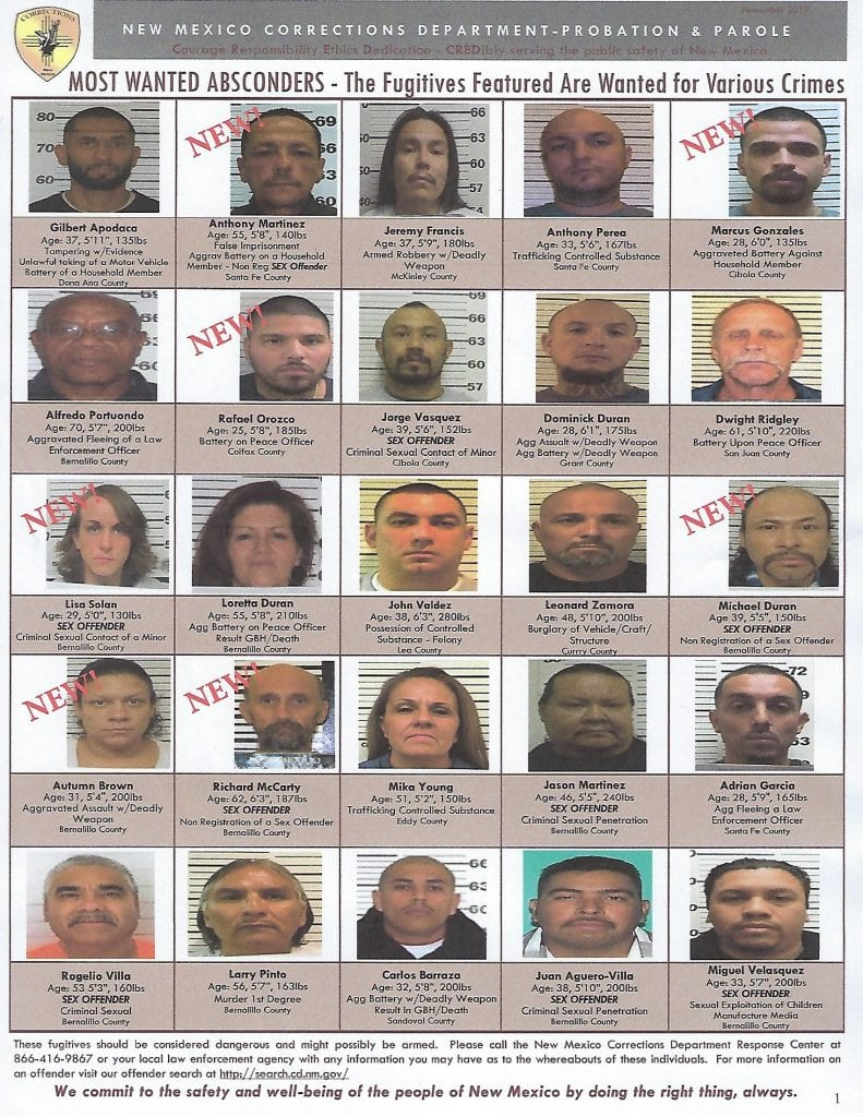New Mexicos' Most Wanted Absconders, Wanted for Various Crimes